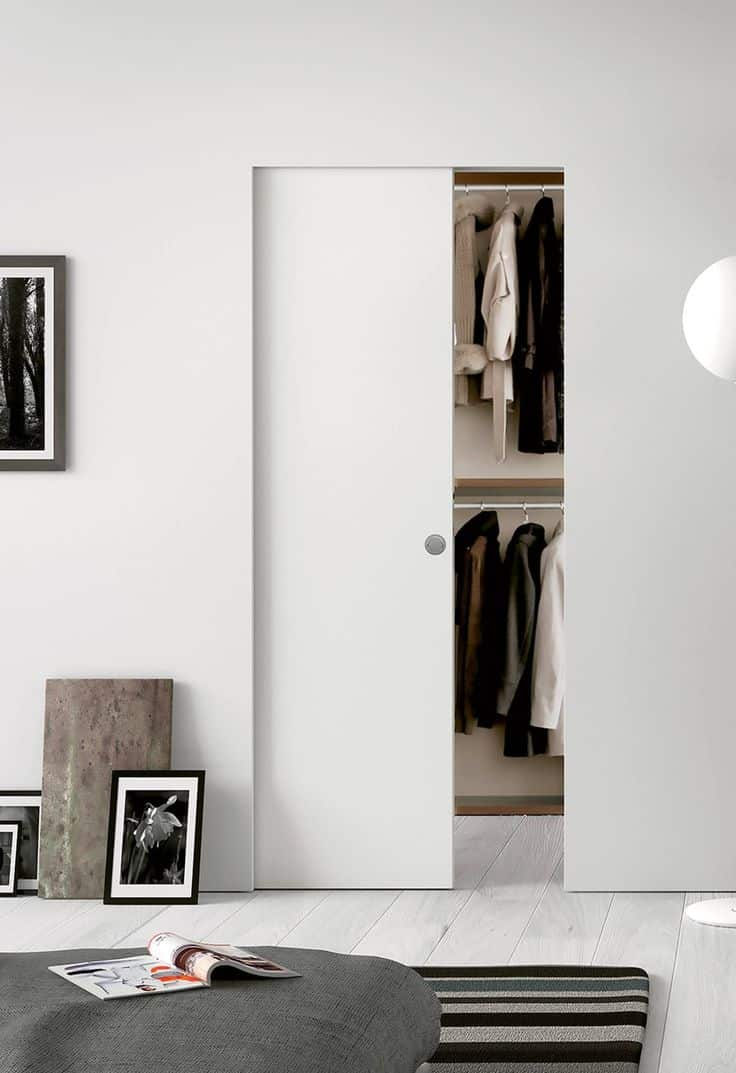 white modern pocket door for closet