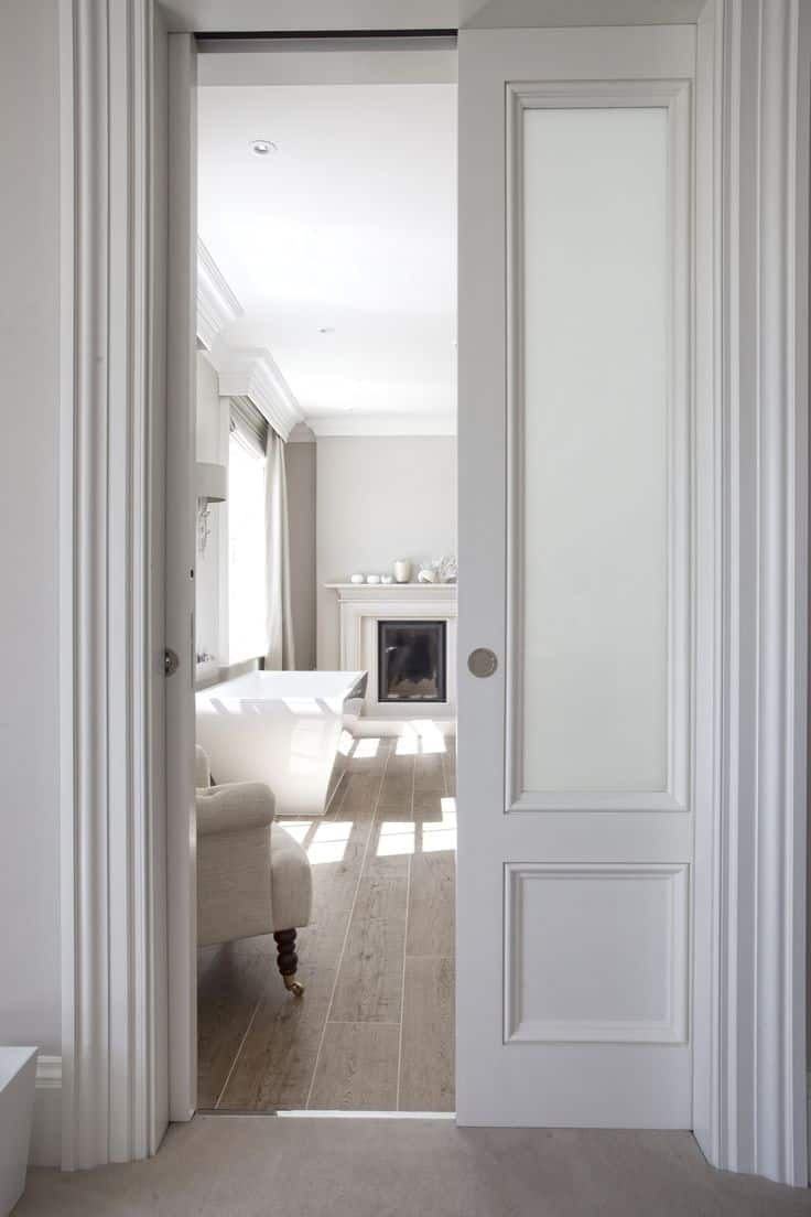 15 magical pocket doors for your small space for Bathroom with two doors