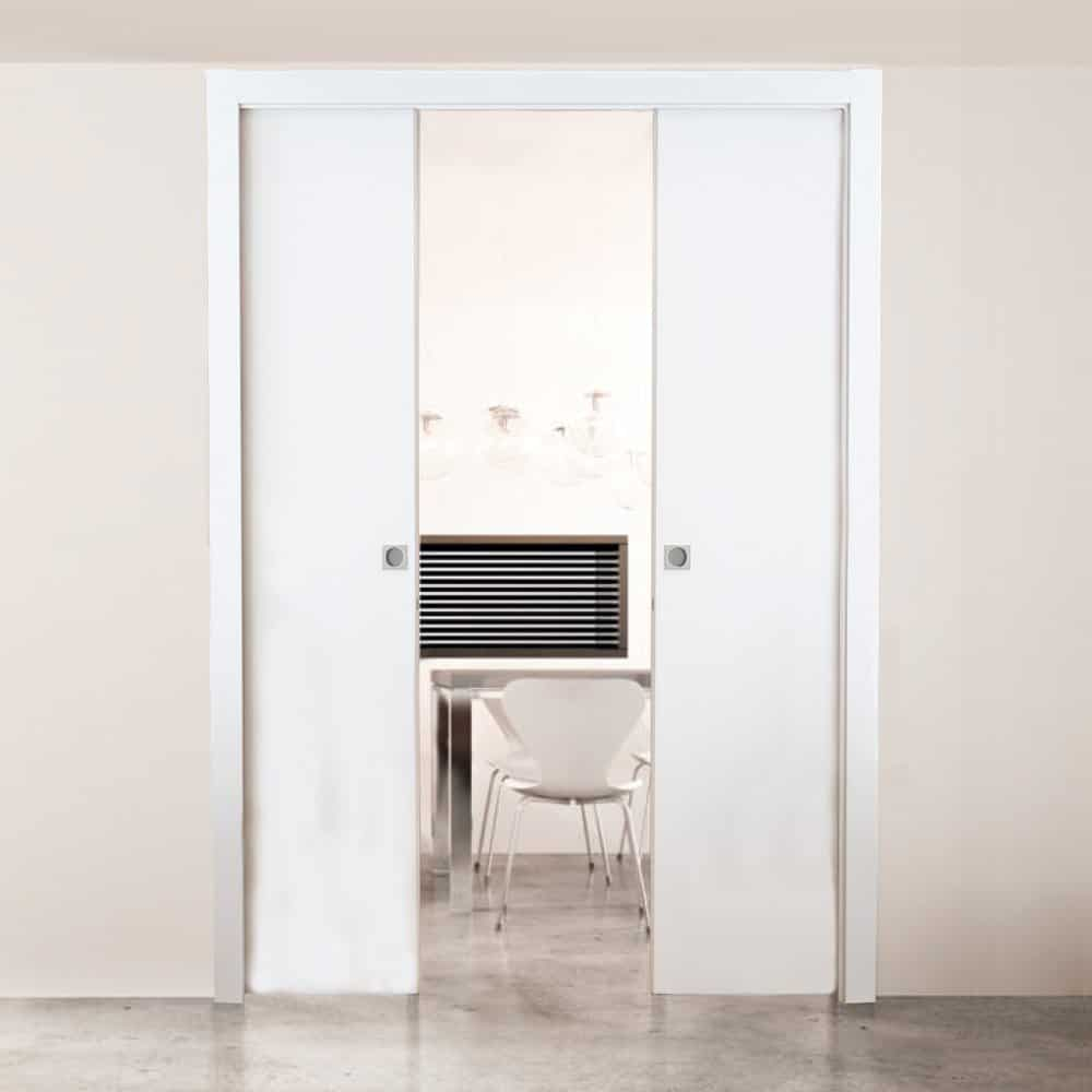 white sliding pocket doors