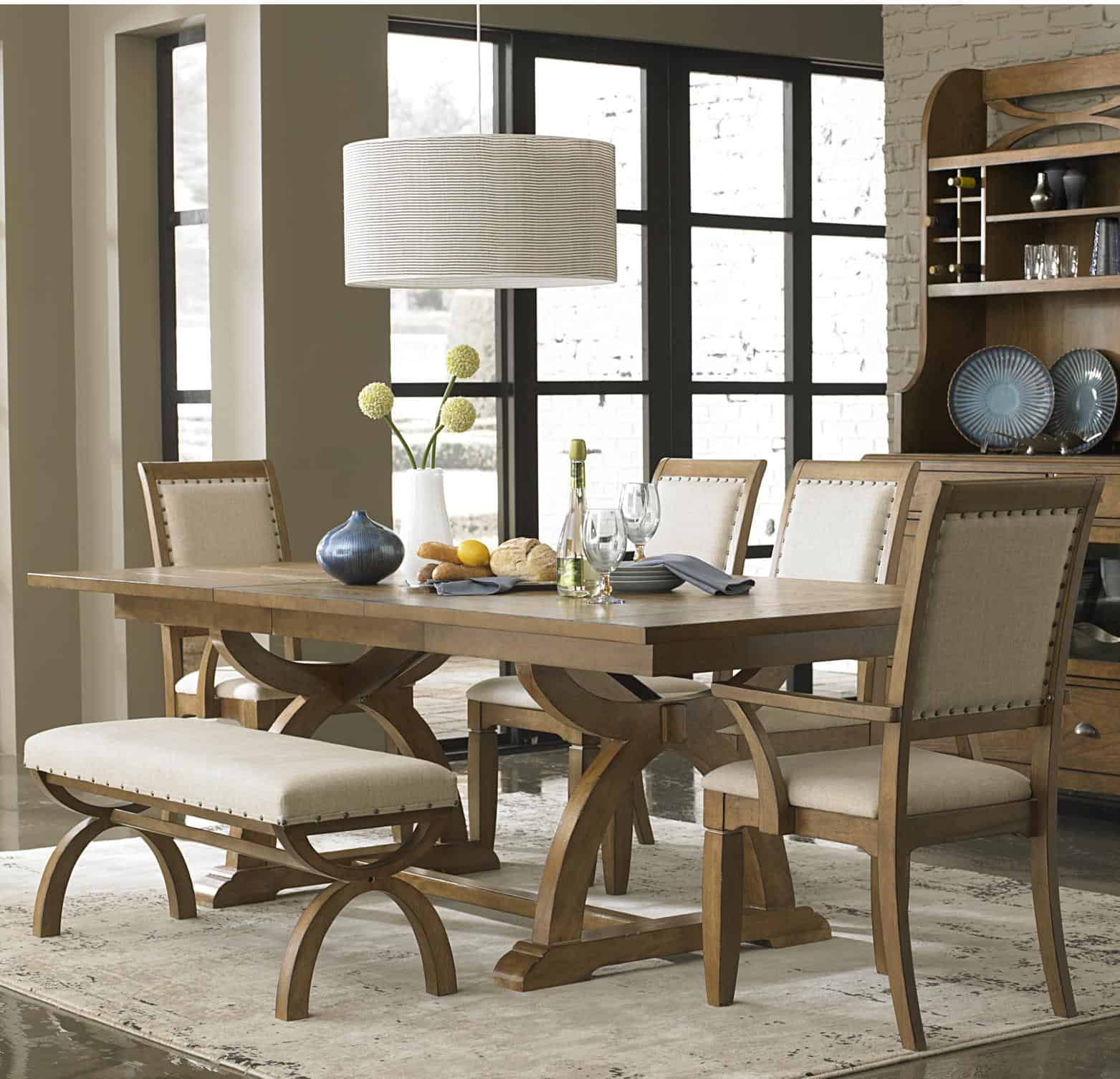 room rectangular set kitchen counter height dining sets medium brown bench table kavara and kutskokitchen with chairs