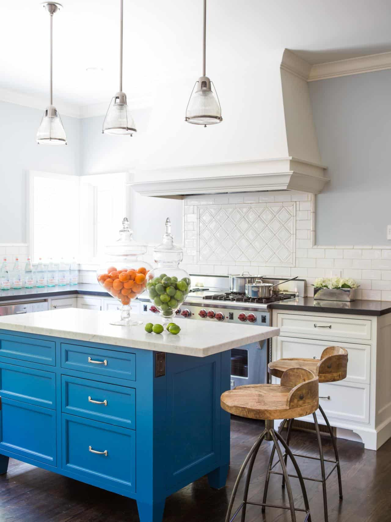 If you have a neutral or white toned kitchen a blue island could be exactly what you need