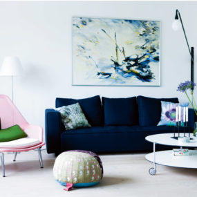 blue sofa living room 285x285 Turning Your Living Room Into The Ultimate Modern Space