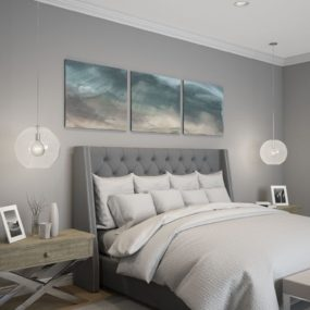 Instead of having one clear pendant why not have two on the side of your bed.