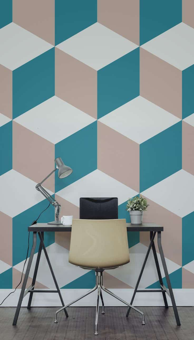 A geometric wallpaper elevates even the smallest space.