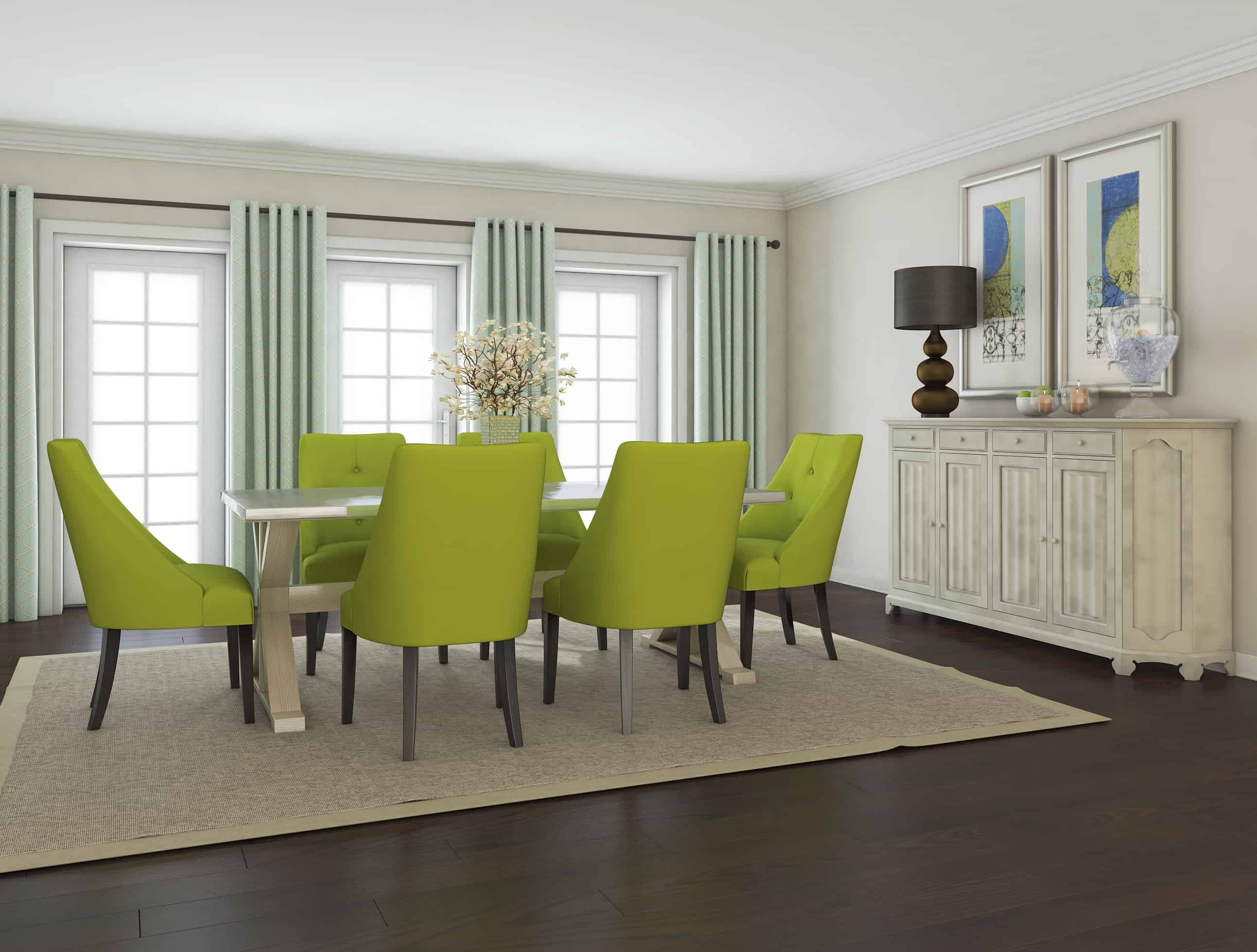 dining room sets with fabric chairs. Green Is In Modern Dining Room Tables That Are on Trend