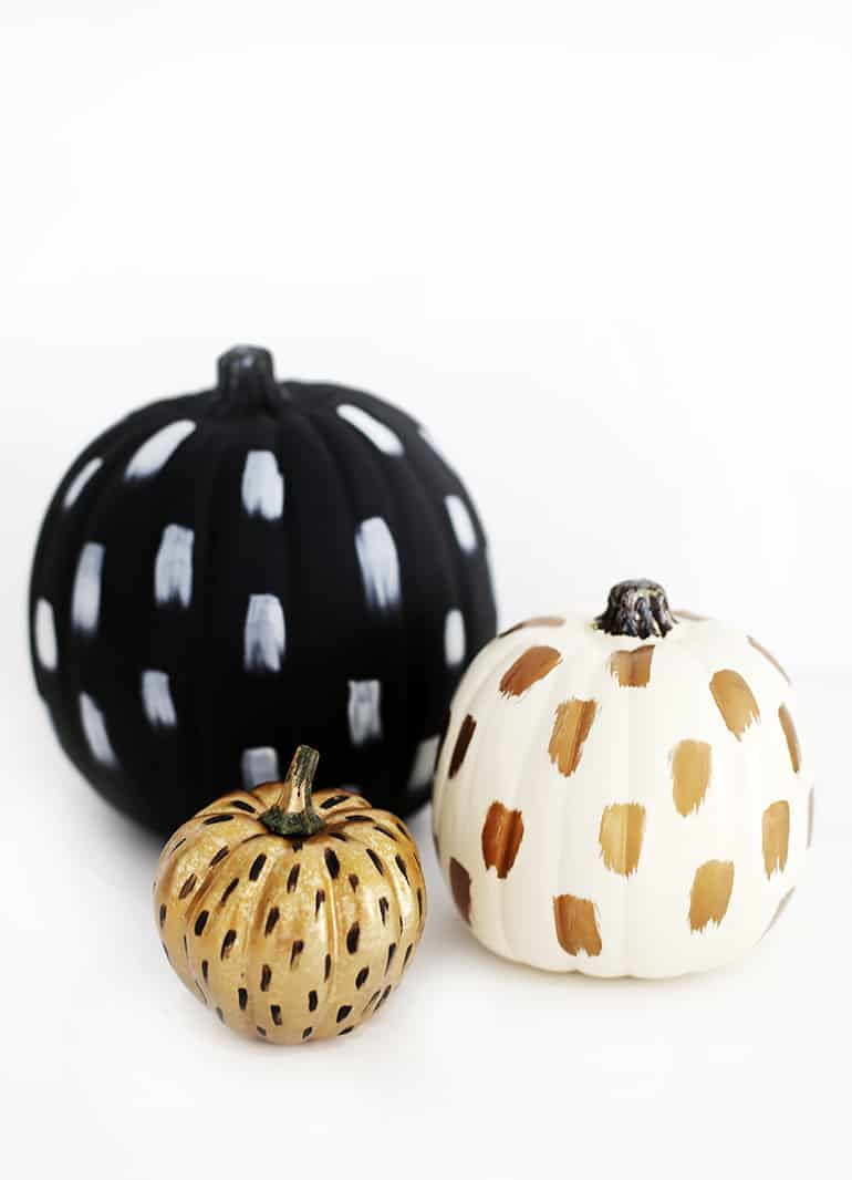 Adding brush strokes to your pumpkin is a modern twist on a painted pumpkin.