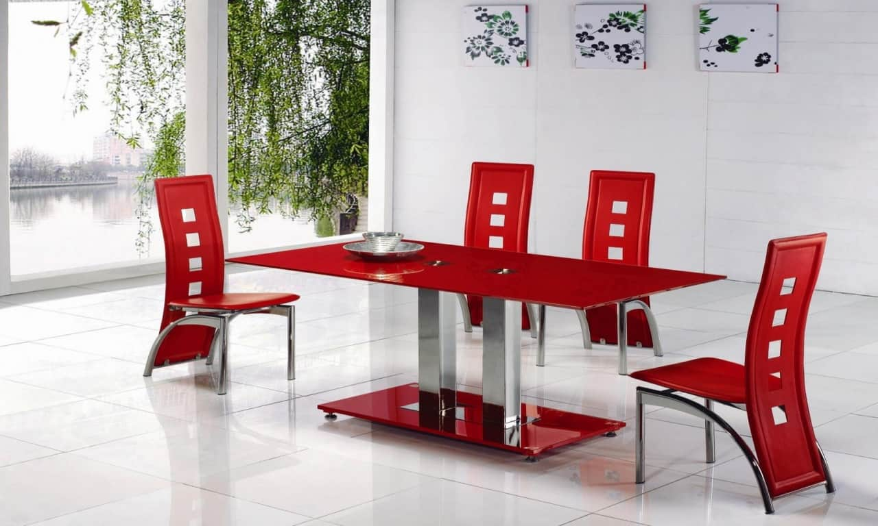 Small glass dining room table for Dining room sets for 4