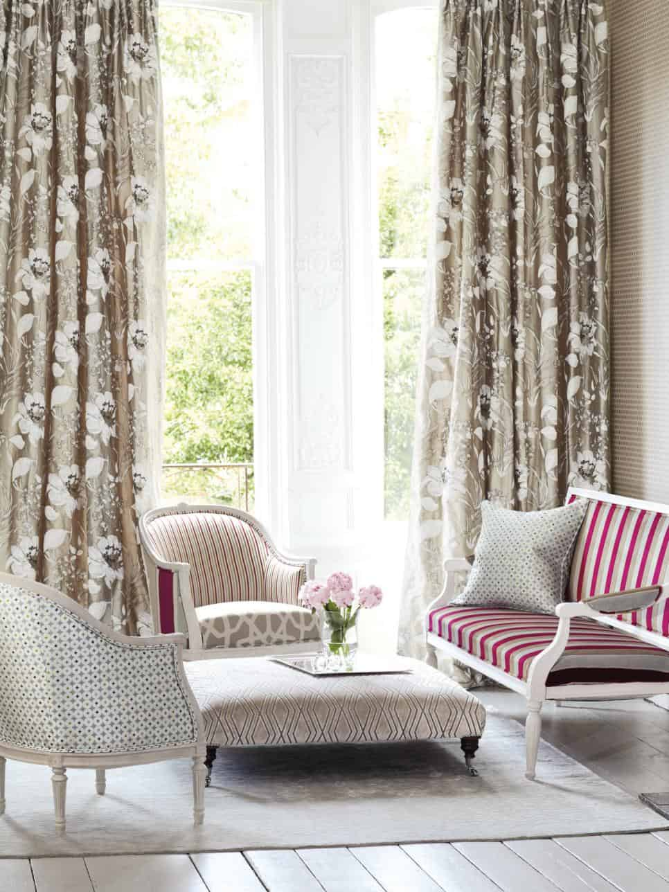 Neutral drapes are an excellent addition to any room especially if they have a pattern.