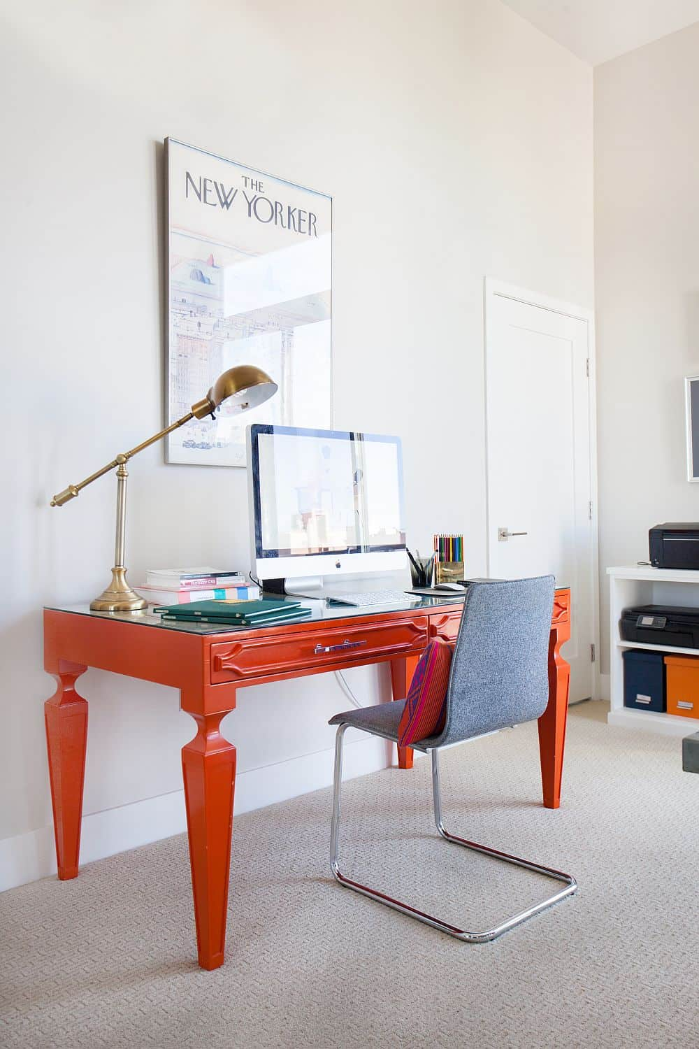 A pop of orange can bring out the space and make it feel