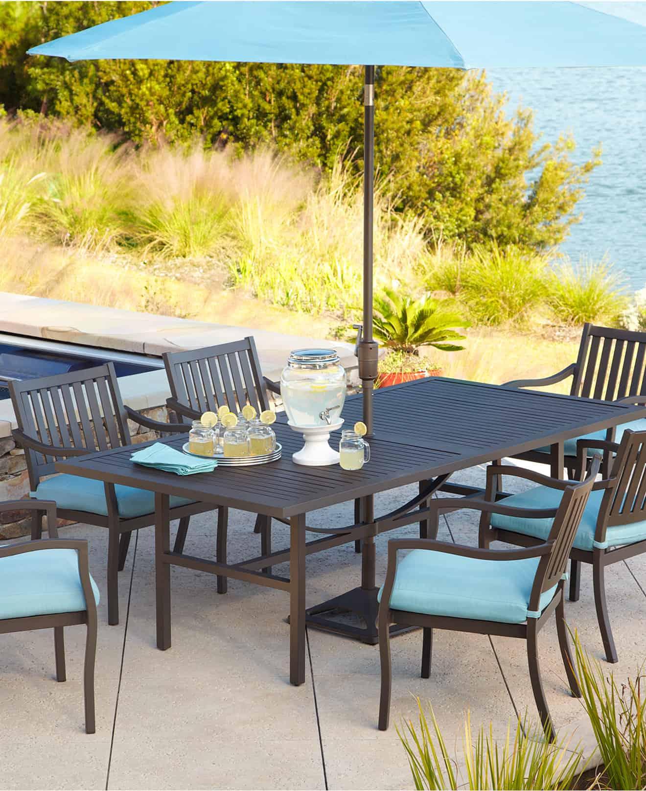 Take the beautiful blue hue outdoors as well.