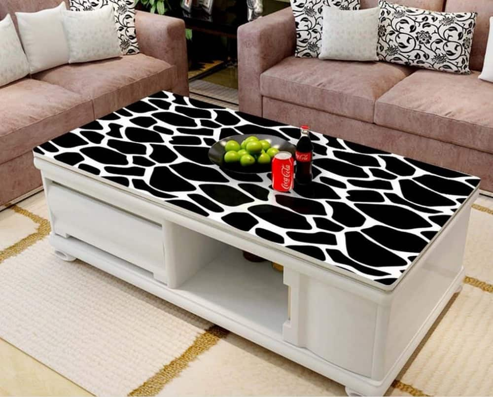 If you want to spruce up your living room adding a patterned coffee table will do the trick.