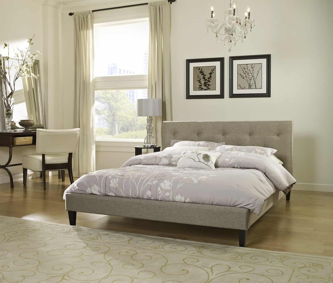 Get a platform bed that is in a neutral color this will allow you to fill the room with other furniture of multiple colors.