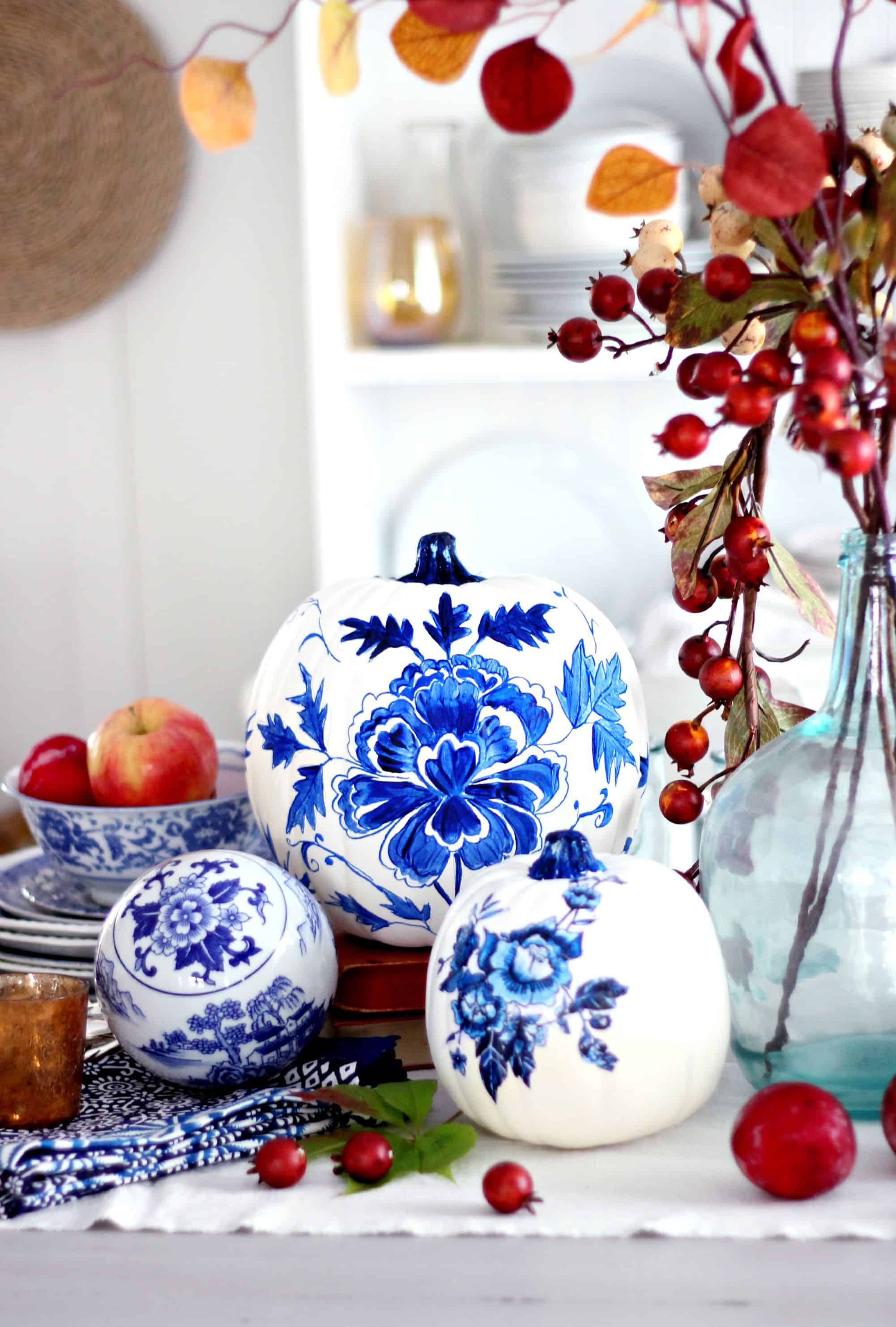 porceline pumpkins Tasteful and Trendy Pumpkin Decorating Ideas That Do Not Involve Carving