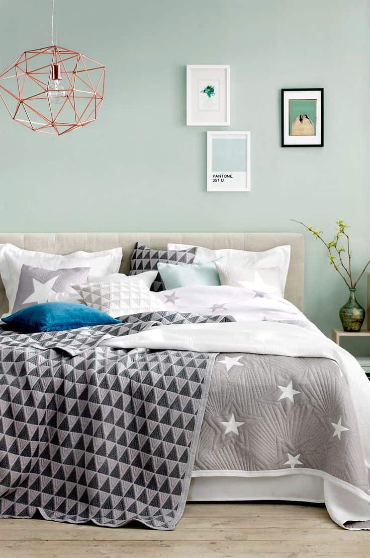 Powder blue walls paired with gray accents are great for a glamorous twist that is still modern and subtle