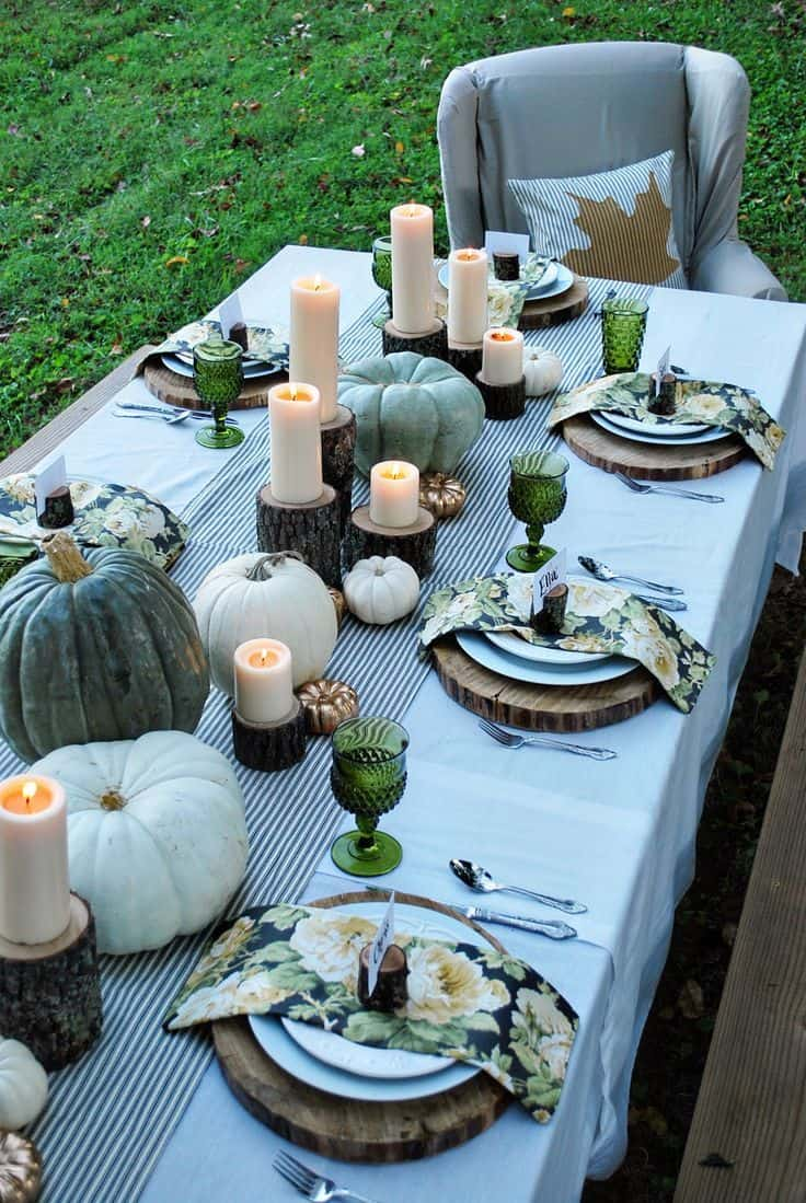 Adding a tablecloth can give the table ambiance and even incorporate pattern.