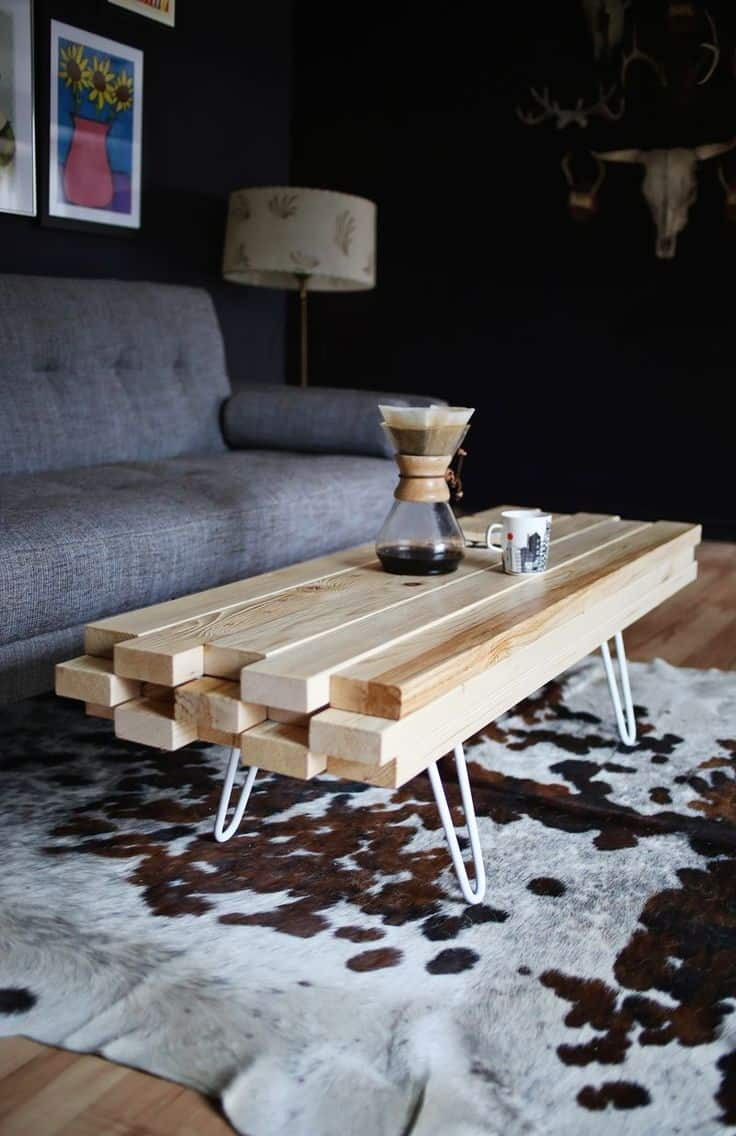 With that being said, you can even DIY your coffee table by putting a couple of wood pieces together and creating a unique one of a kind coffee table.