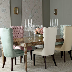 Dining chairs add a royal touch to any simple wooden table.