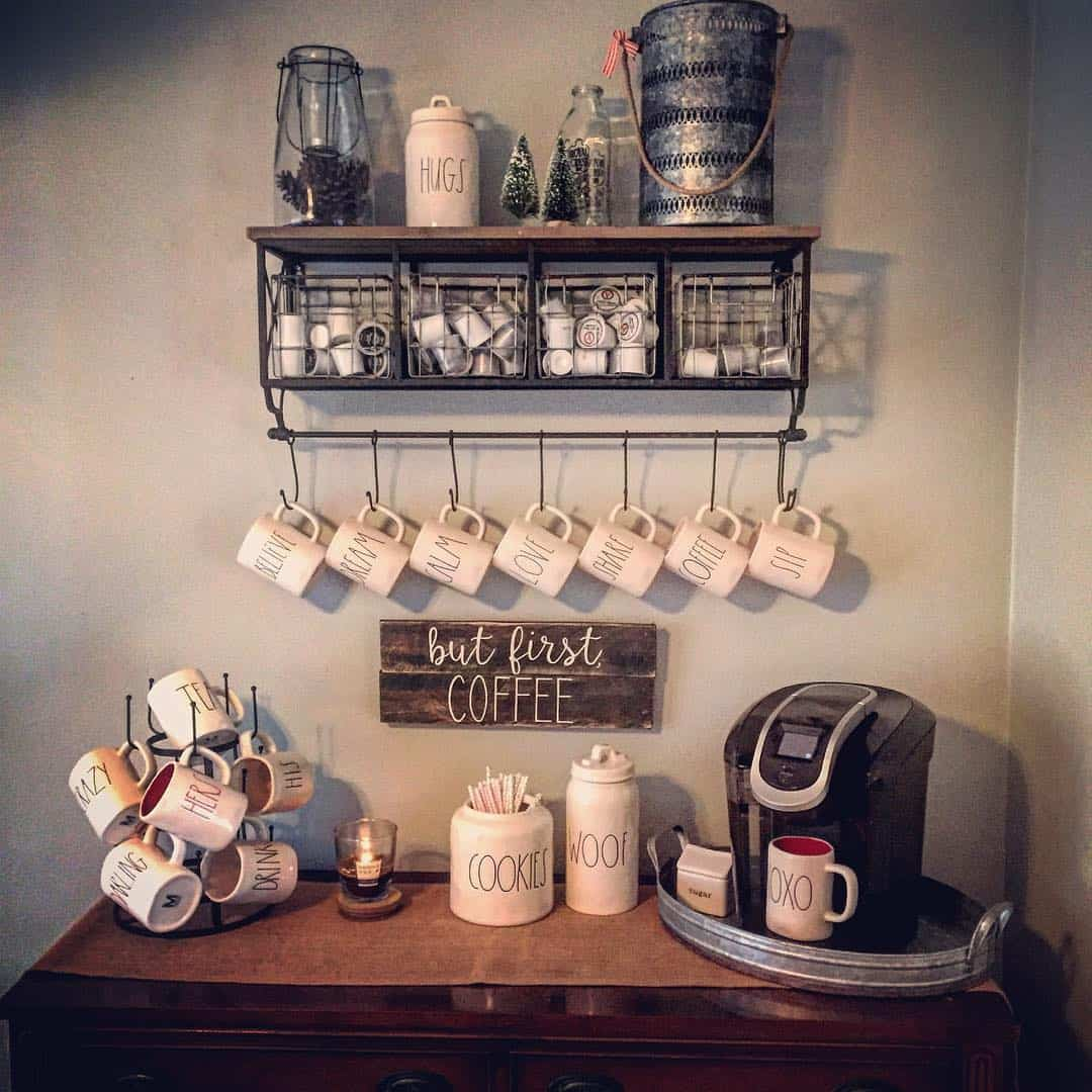 Display your coffee cups in more than one way to achieve a mix and match effect.