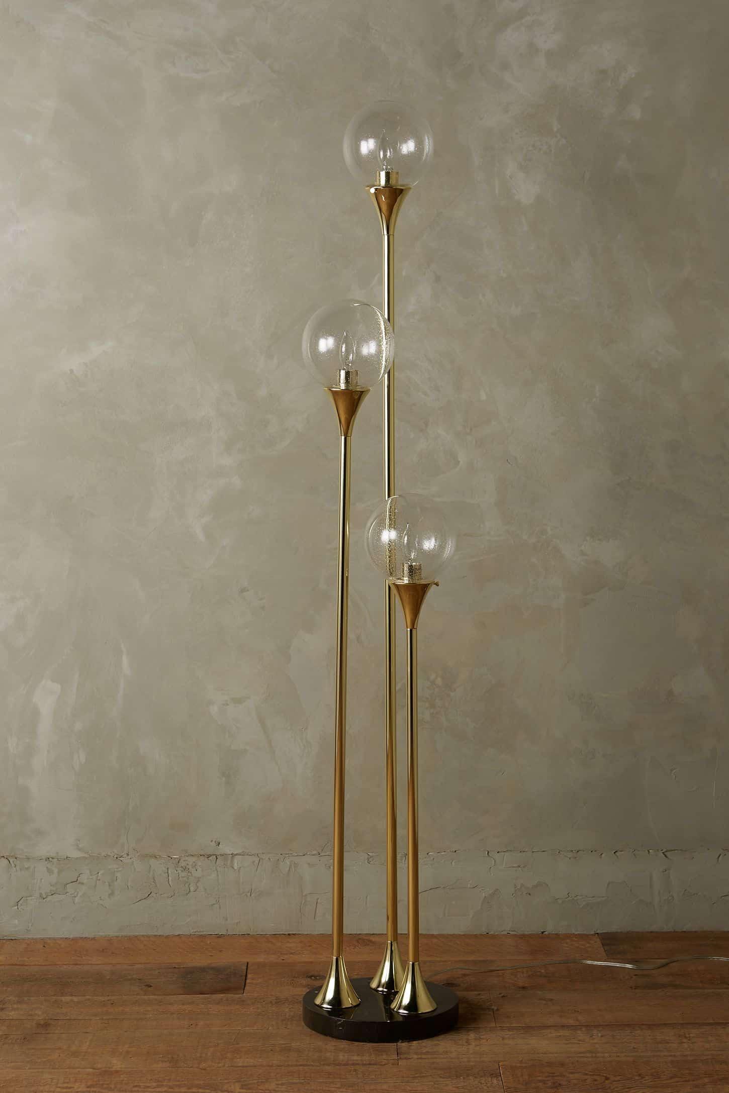 3 bulb golden floor lamp