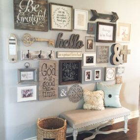 A rustic gallery wall can be added anywhere in the home.