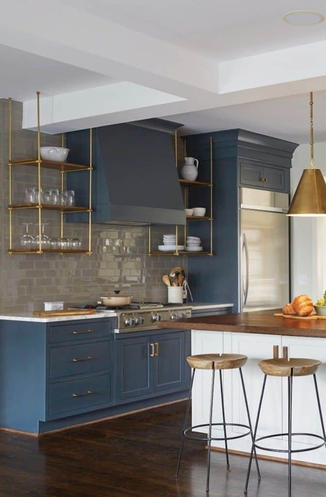 blue and gold modern kitchen cabinets