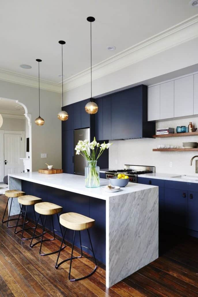 blue and marble kitchen cabinets