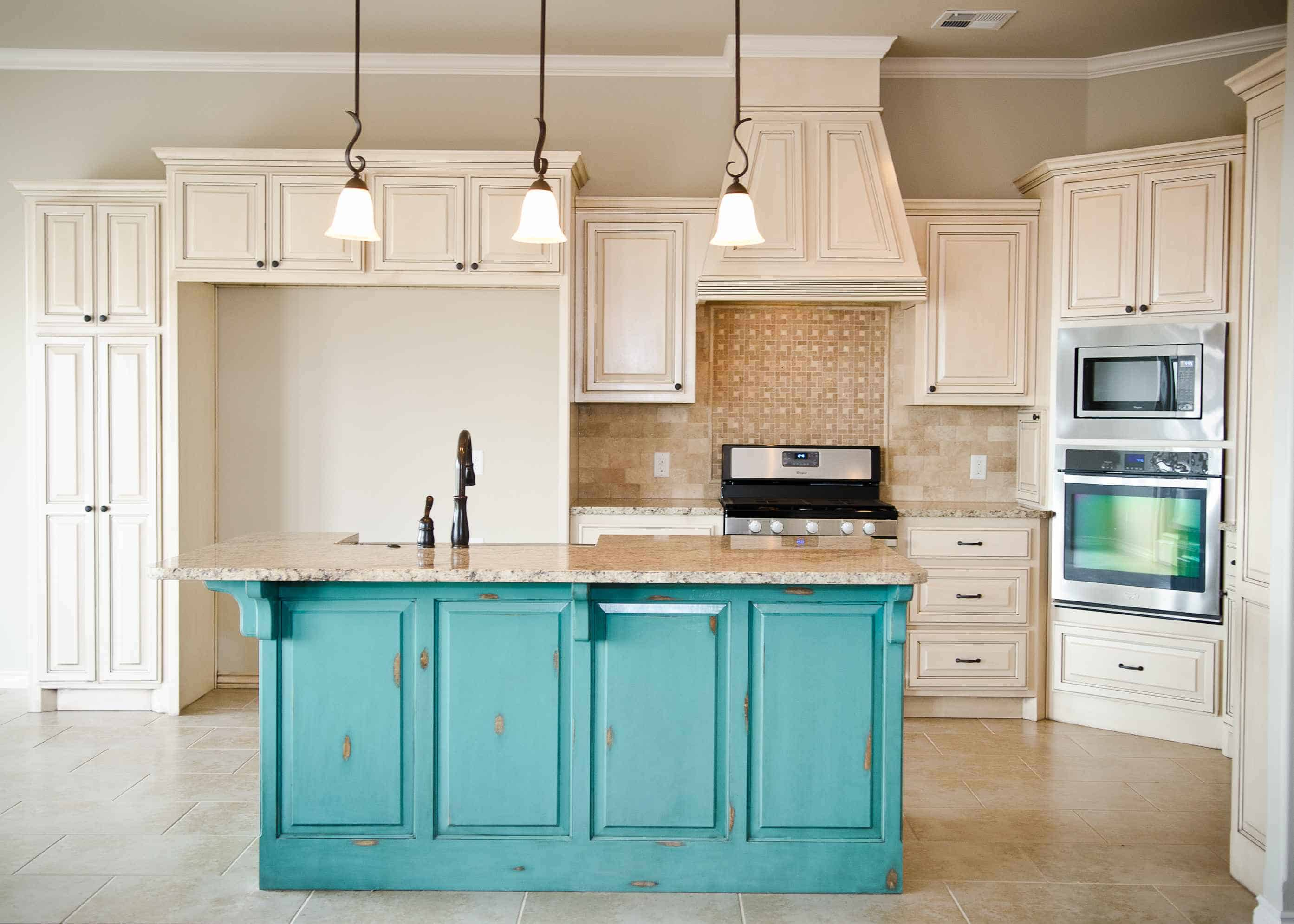 blue ktichen island 10 Trendy Kitchen Island Ideas