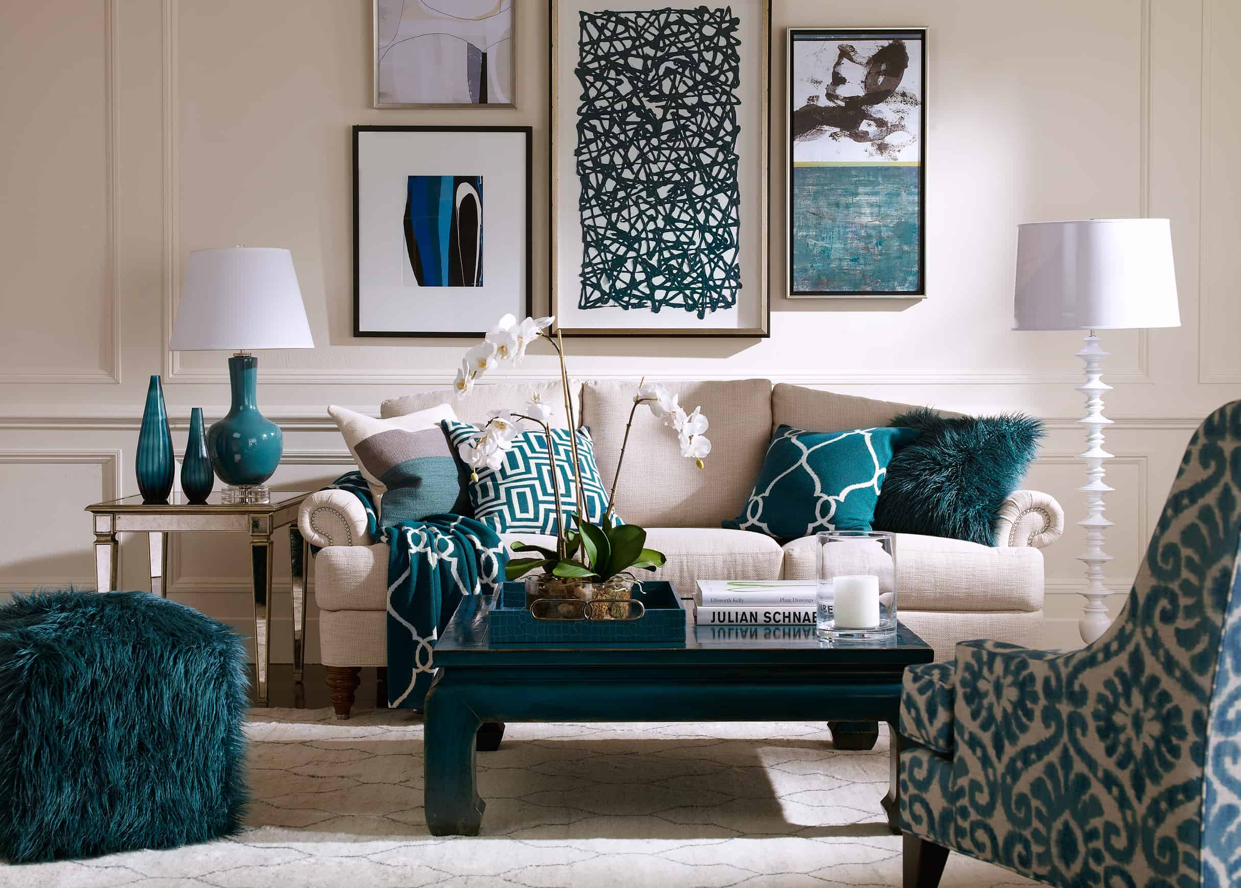 If you do not want to have more then one bold color consider using multiple different hues of the same shade.