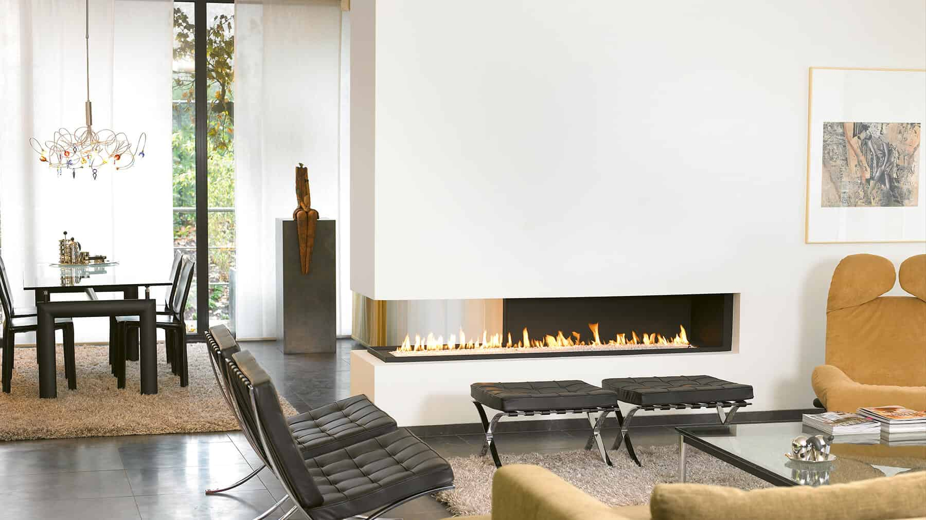 contemporary two sided fireplace
