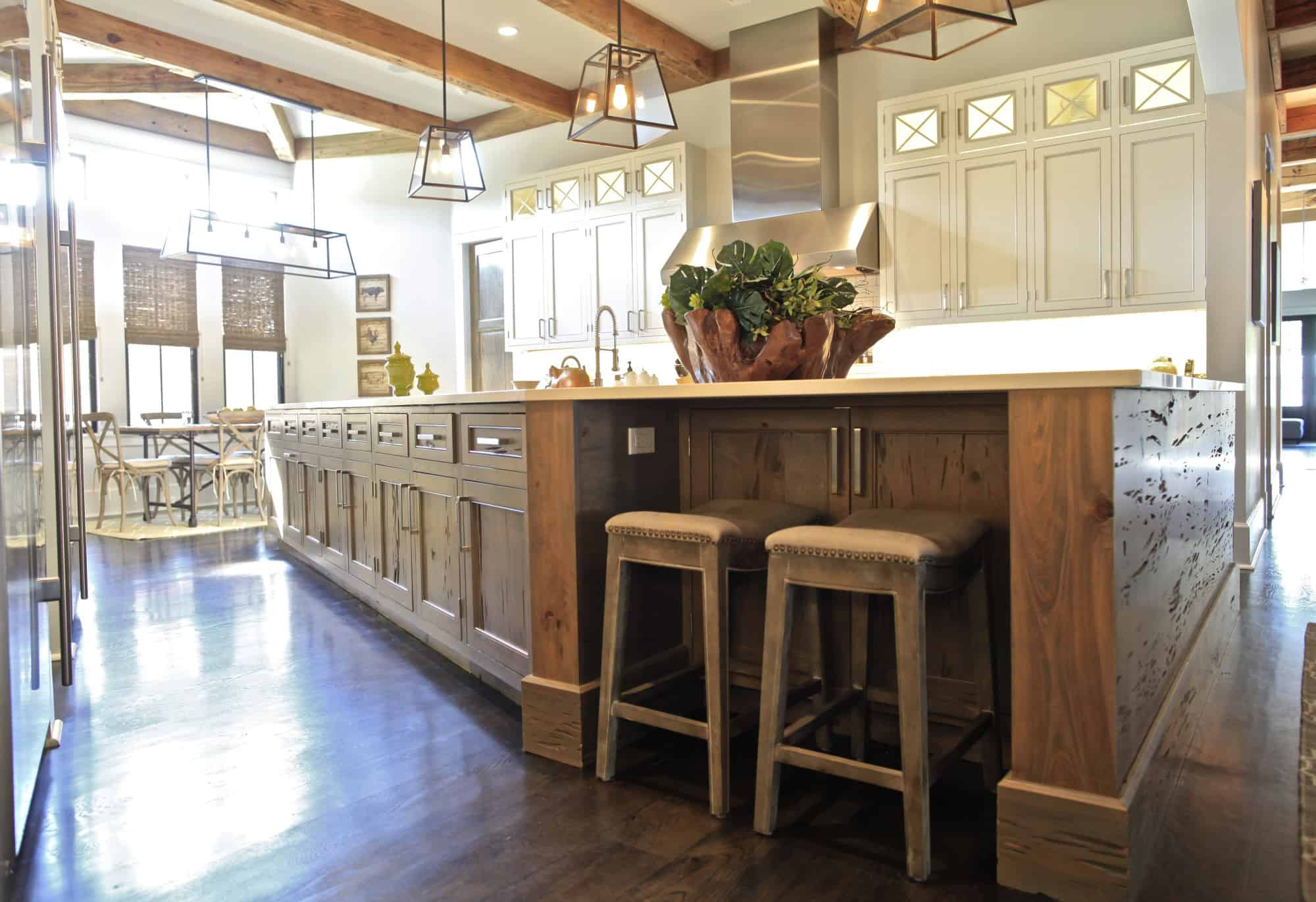 Make a statement with a cypress wood kitchen island. Its intricate detailing makes it much more than just a wooden detail in your kitchen