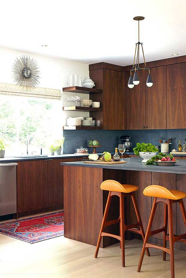 dark wood modern kitchen cabinet