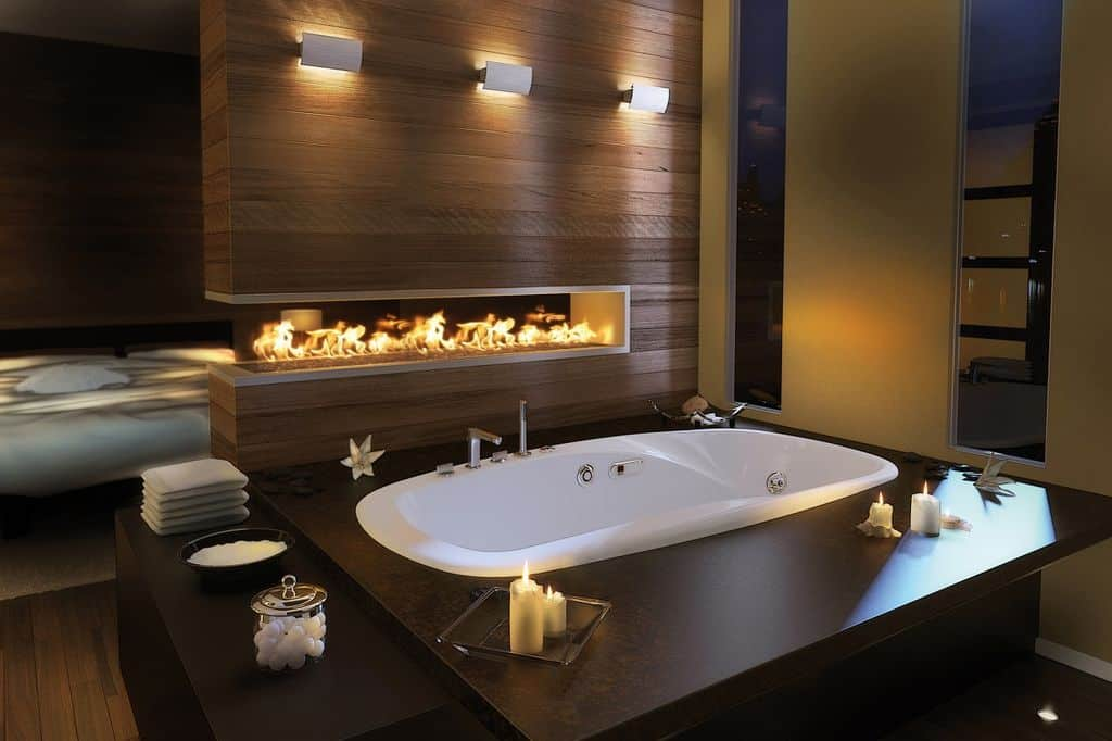 double sided fireplace in bathroom