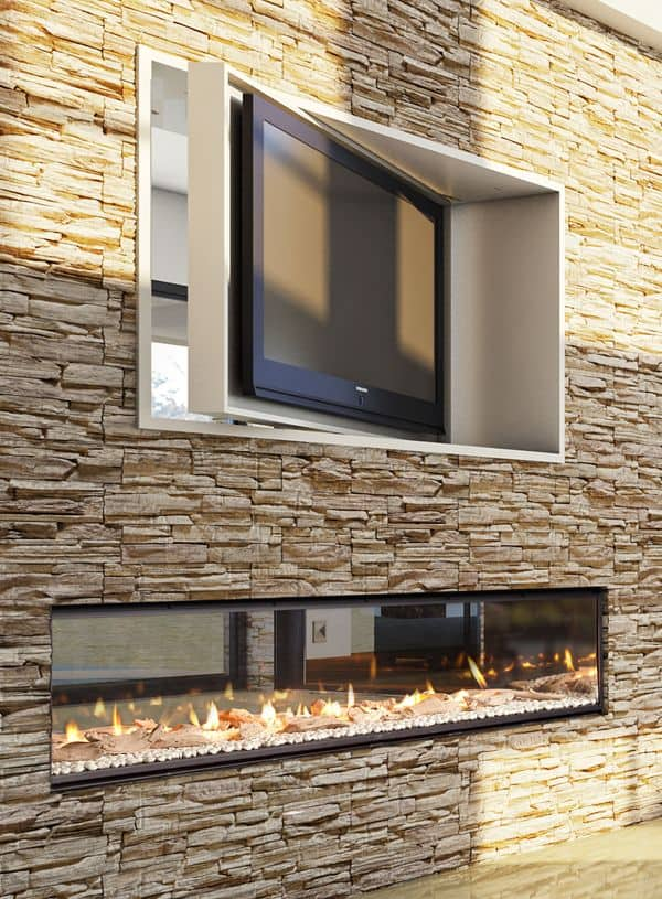 double sided fireplace under television