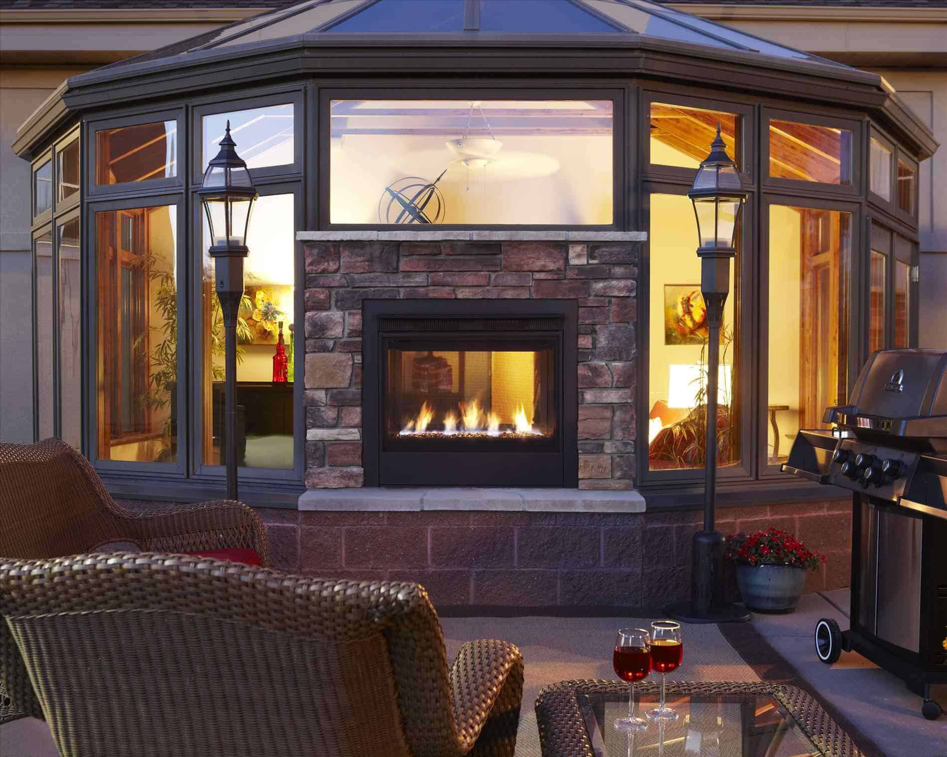 double sided indoor and outdoor fireplace