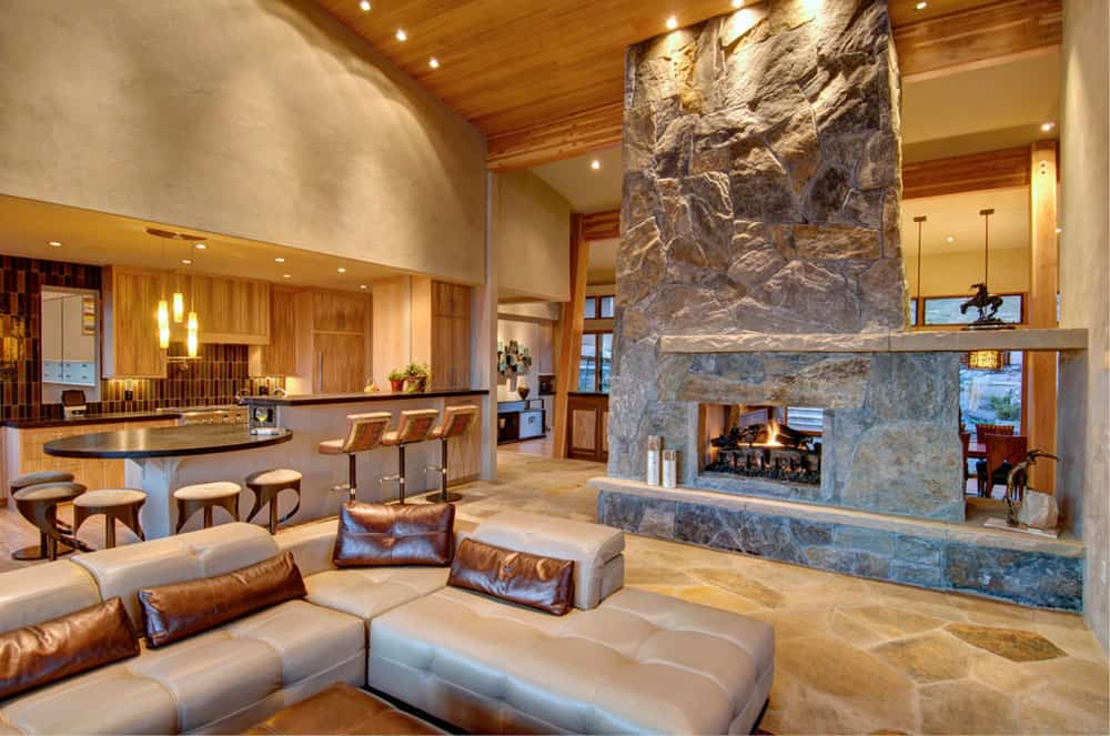 double sided stone fireplace