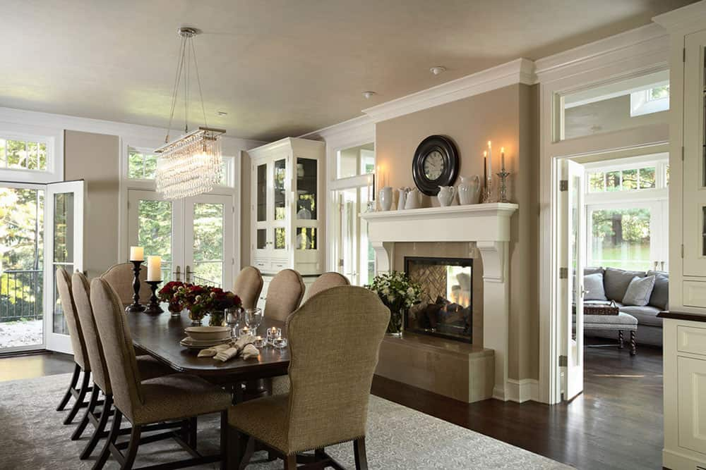family home with traditional two sided fireplace