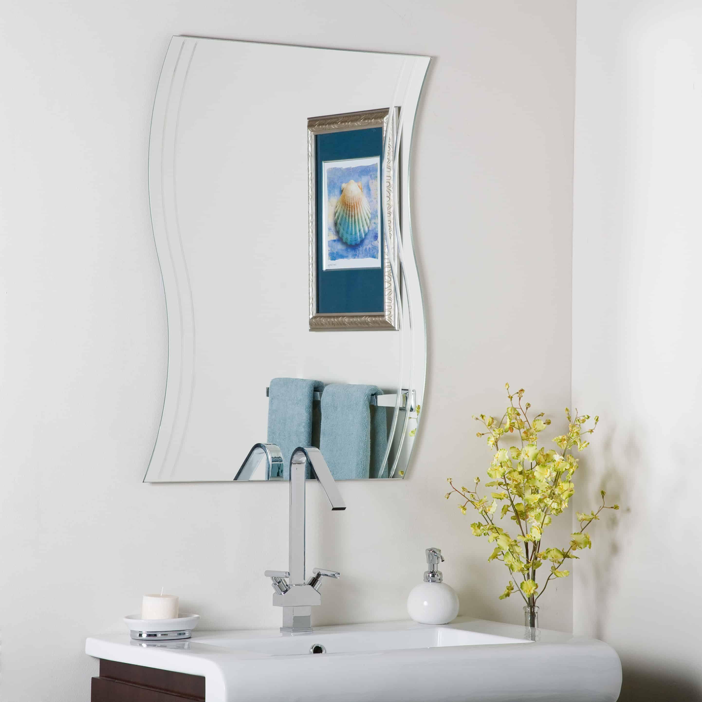 frameless wave mirror