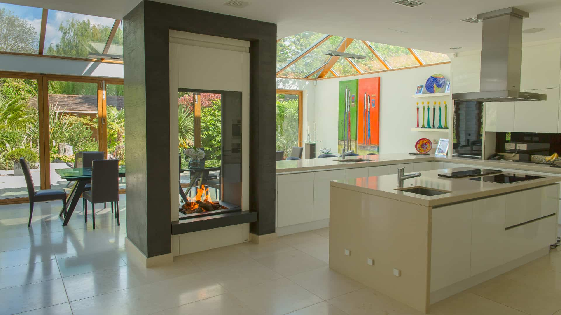glass mirror double sided fireplace