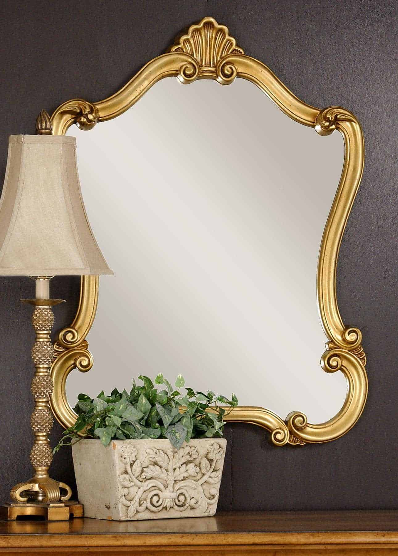 golden framed vintage style mirror
