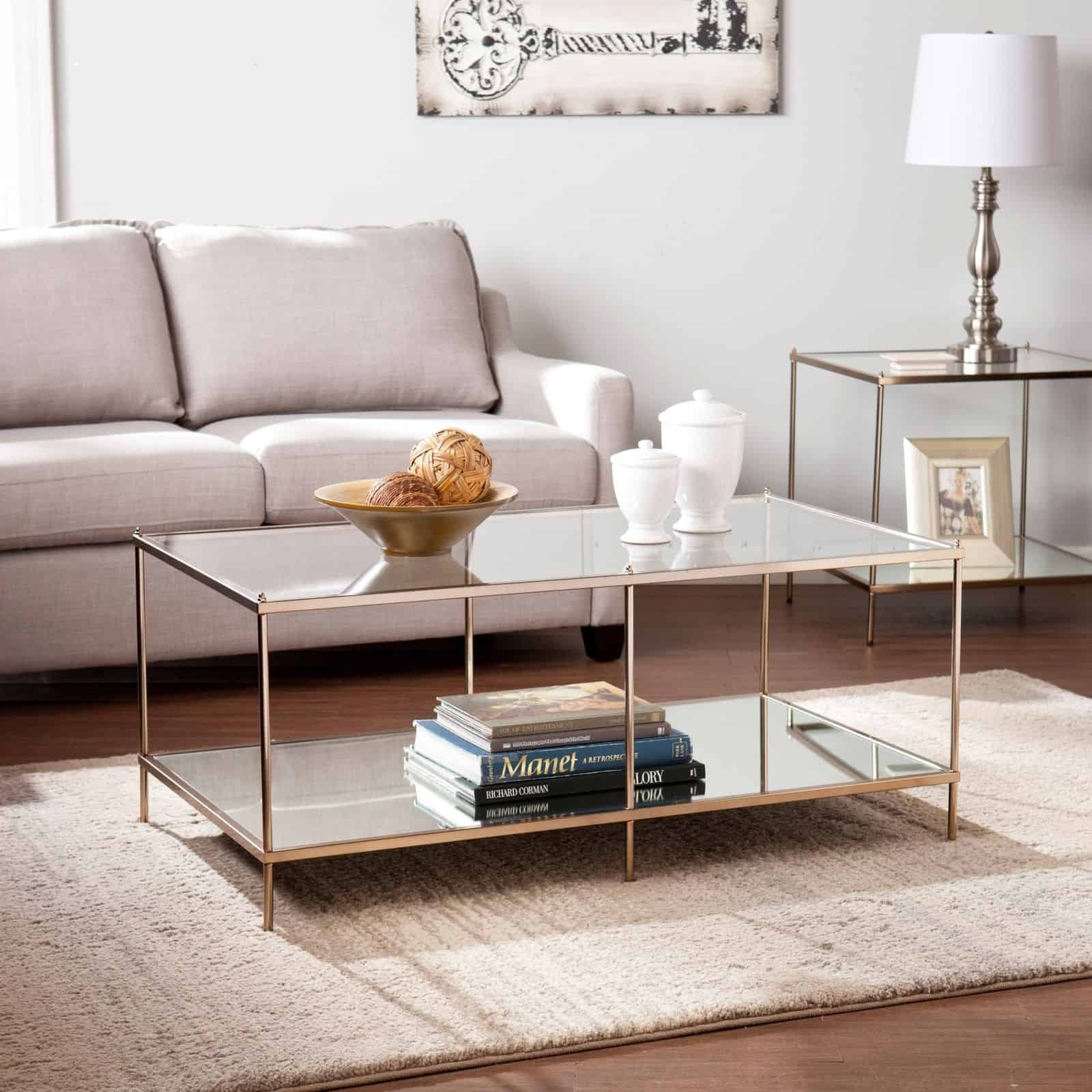 goldtone glass coffee table