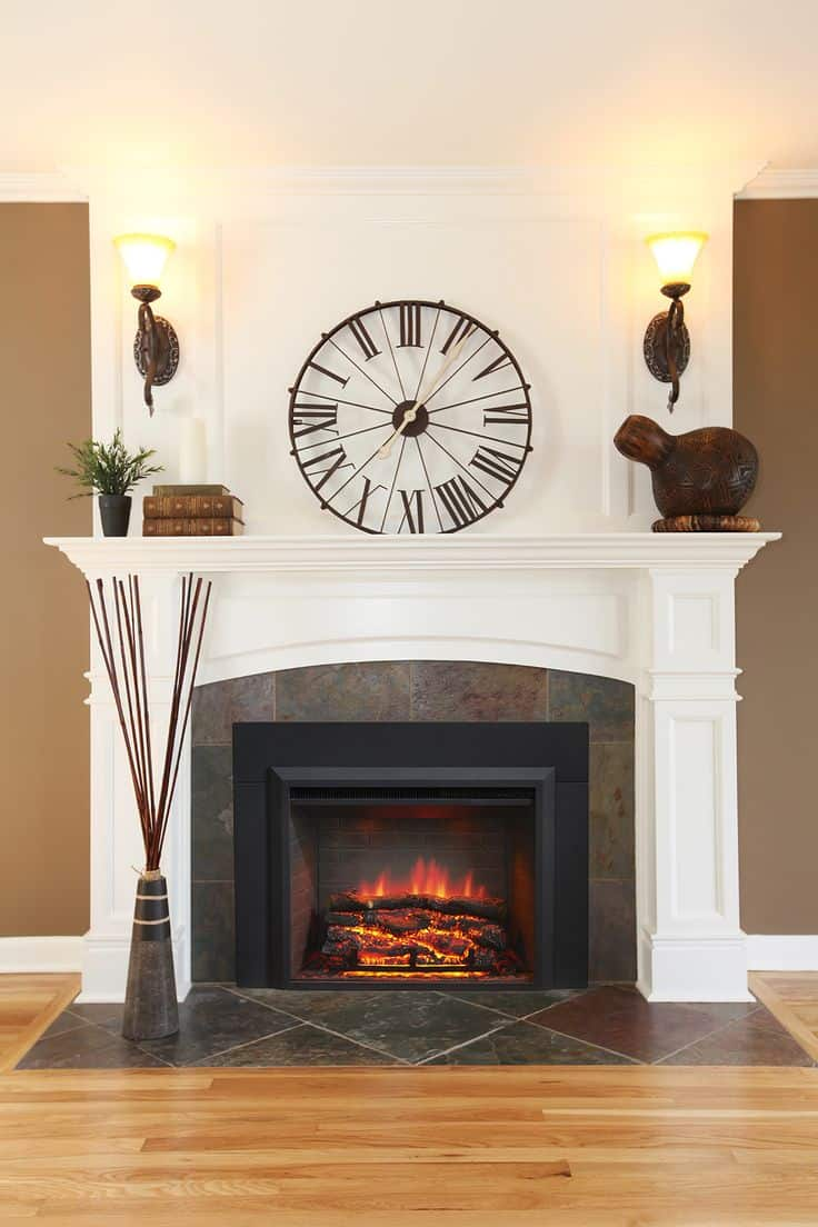 A large clock provides visual appeal in a room because it is a bold piece that commands your attention