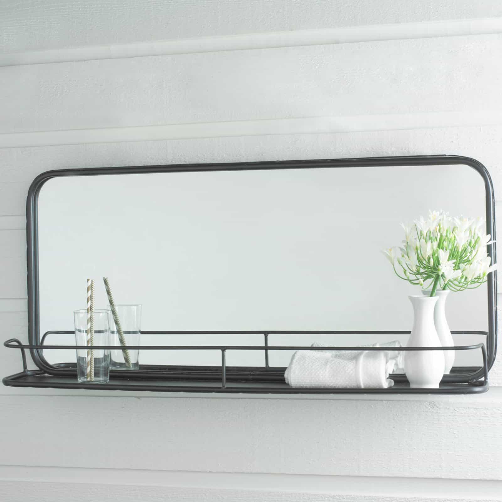 metal mirror with shelf