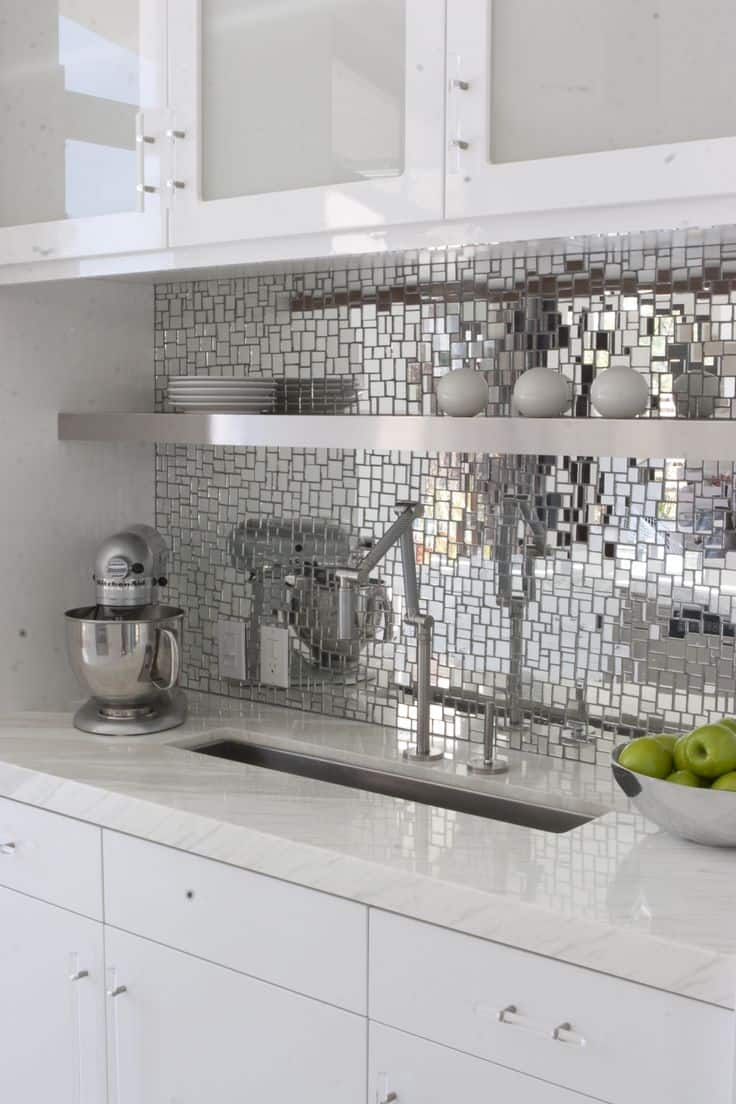 metallic backsplash Adding Color to an All White Kitchen Without Disrupting Your DéCor