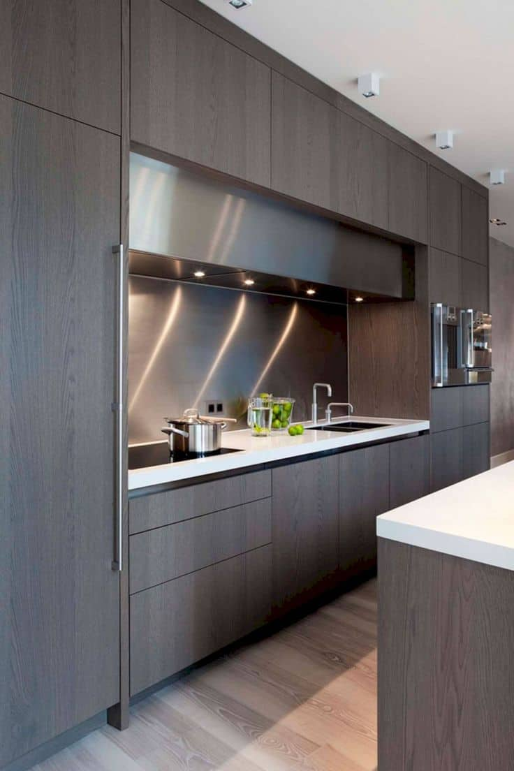 modern gray wood kitchen cabinets