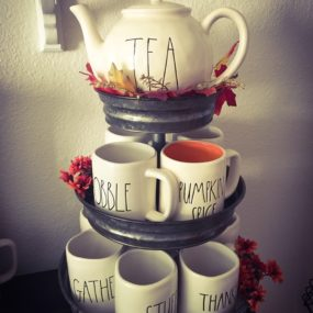 This stand is perfect if you have an intricate tea kettle or coffee cups or both to display.