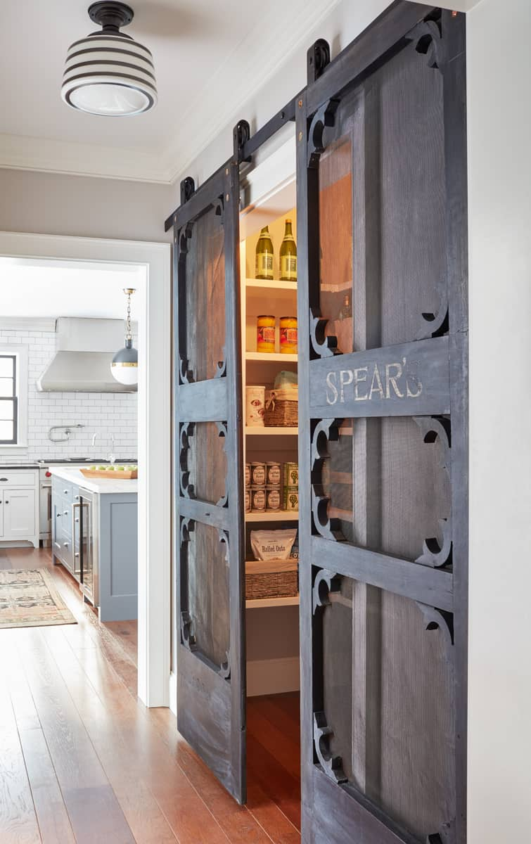 Sleek barn doors are the perfect addition to your panty.