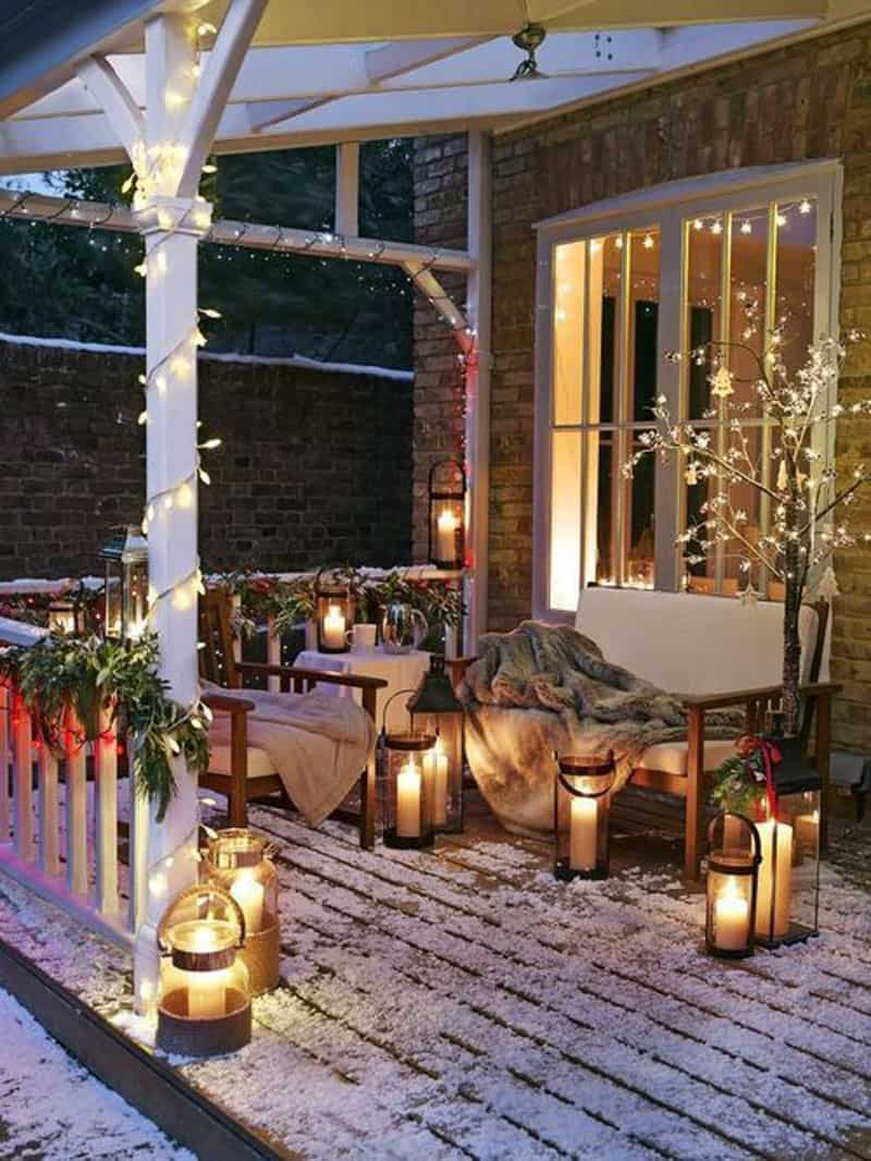 porch with winter decor