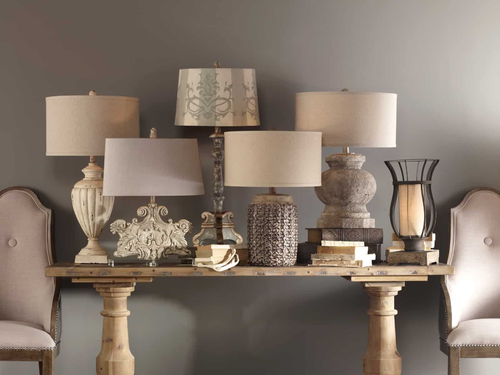 table lamps on console