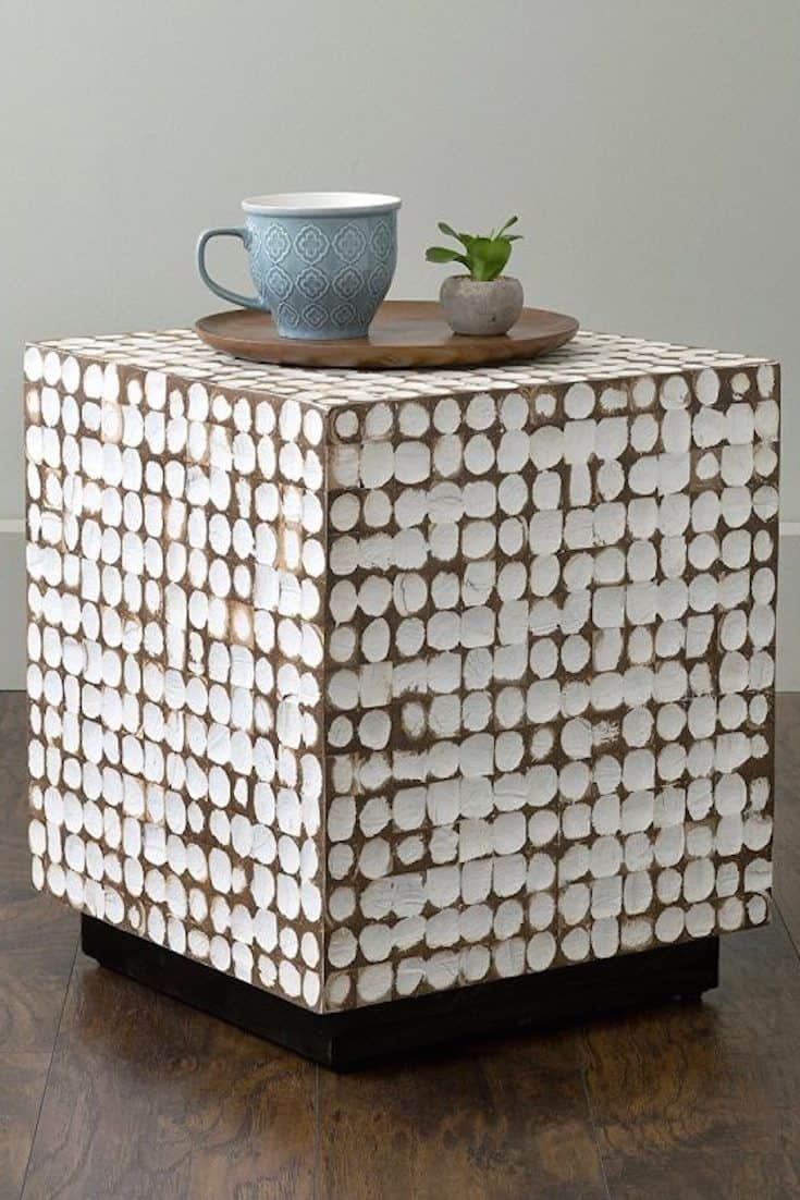 wooden block and white end table 15 Unique End Tables To Liven Up Any Room Of The House