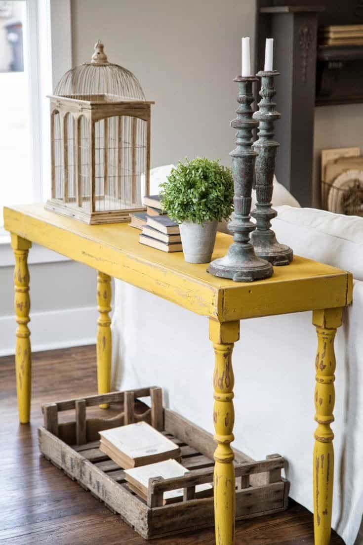yellow console table